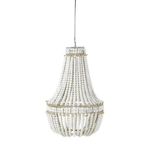 White Pine And Aged Effect Metal Beaded Pendant Light Salome Maisons Du Monde