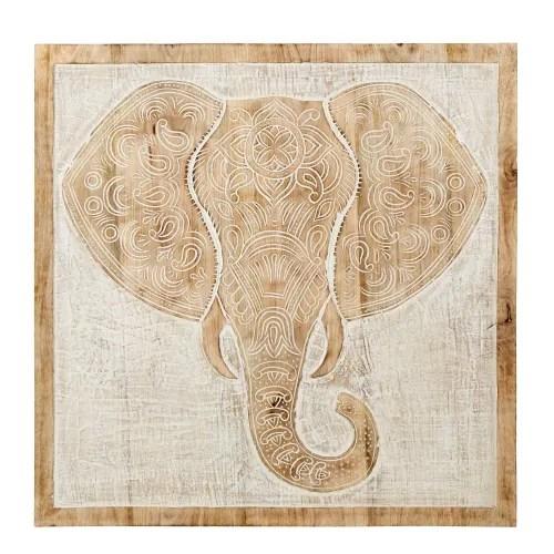 Buy Whitewashed Carved Mango Wood Elephant Wall Art 80x80 Online In The Uk Kasera