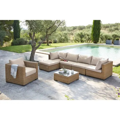 wicker and tempered glass garden coffee table w 77cm maisons du monde