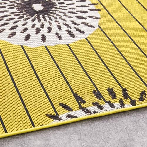 yellow polypropylene outdoor rug with print 160x230 maisons du monde
