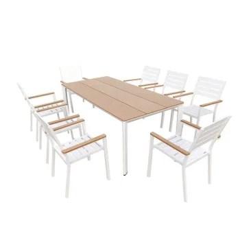 salon de jardin 8 places en aluminium blanc et bois composite maisons du monde