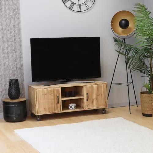 meuble tv a roulettes pin massif bois vieilli maisons du monde