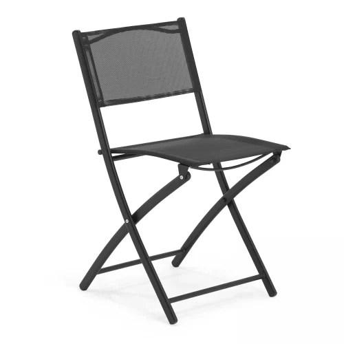 table de jardin et 4 chaises pliantes en acier et verre noir maisons du monde