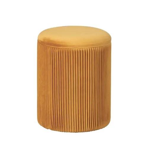 pouf avec coffre de rangement orange maisons du monde