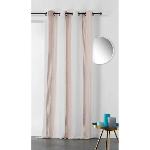 voilage imprime a rayures verticales colorees polyester taupe 280x145 maisons du monde