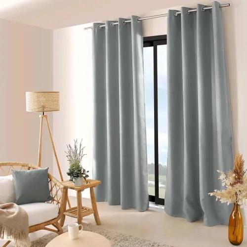 rideau occultant uni et filete polyester gris 240x140 maisons du monde