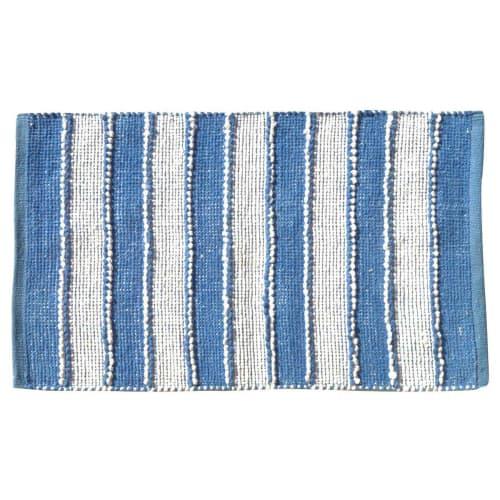 tapis de bain a rayures verticales coton blanc bleu 80x50 maisons du monde