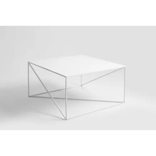 table basse carre en metal blanc l80cm maisons du monde