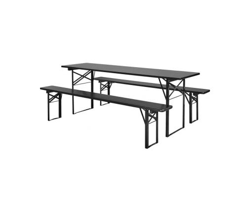 solu grande table de jardin avec bancs 6 places en bois de pin noir maisons du monde