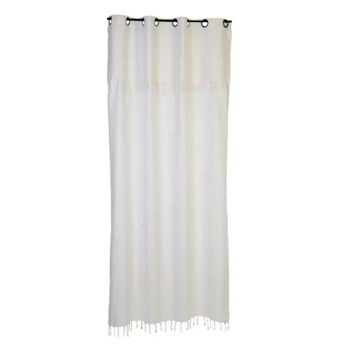 fes rideau ajustable en hauteur coton uni blanc ecru 140 x 210 a 240 maisons du monde