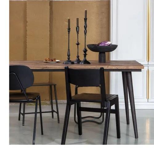table a manger en bois recycle et metal 180x90cm maisons du monde