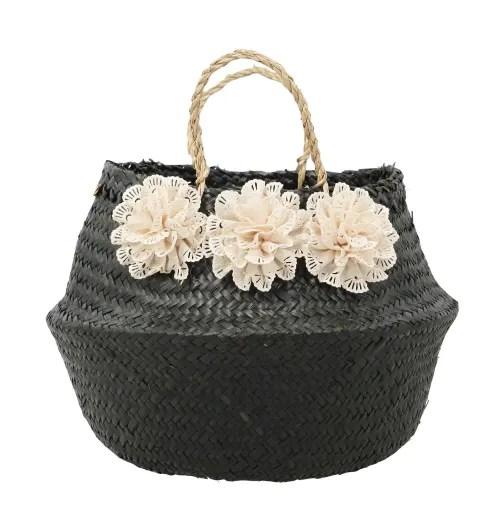 hanoi panier cache pot en jonc de mer noir avec pompons fleurs maisons du monde