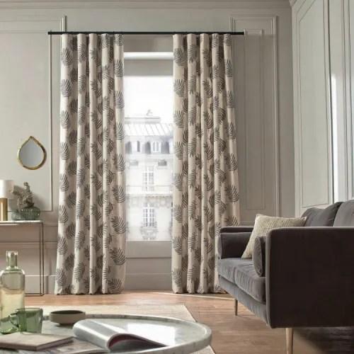 rideau a ruban fronceur 136x295 cm beige et noir maisons du monde