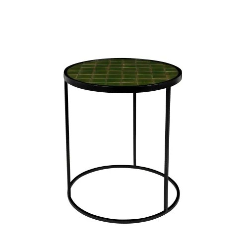 glazed table d appoint ronde o40cm vert maisons du monde