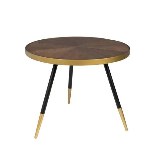 denise table basse ronde en metal et bois o61cm bois fonce maisons du monde