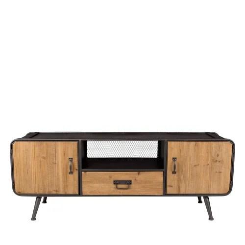 meuble tv en bois et metal et bois clair maisons du monde