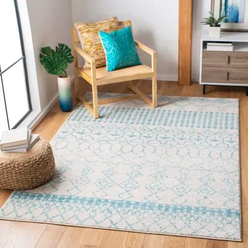 tapis de salon boheme chic ivoire et turquoise 91x152 maisons du monde