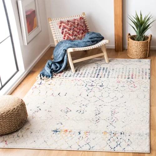 tapis de salon boheme chic ivoire et bleu 91x152 maisons du monde