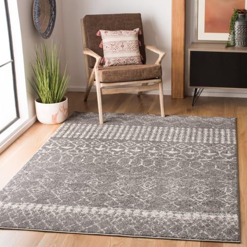 tapis de salon boheme chic gris et ivoire 91x152 maisons du monde