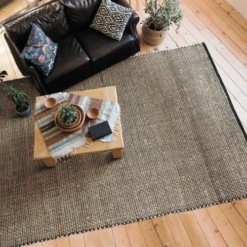 tapis tisse en jute et coton noir et naturel 190x290 maisons du monde