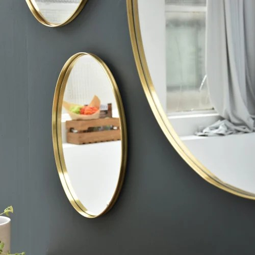 miroir rond o40 en laiton or maisons du monde