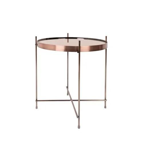 cupid table basse design ronde small cuivre maisons du monde