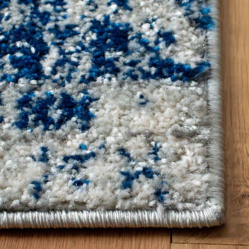 tapis de salon contemporain argent et bleu marine 91x152 maisons du monde
