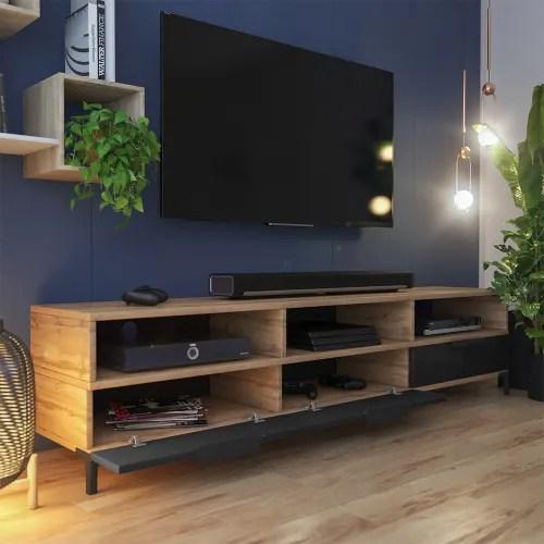 meuble tv moderne 160 cm chene wotan noir brillant maisons du monde