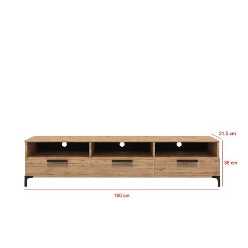 meuble tv moderne 160 cm chene wotan maisons du monde