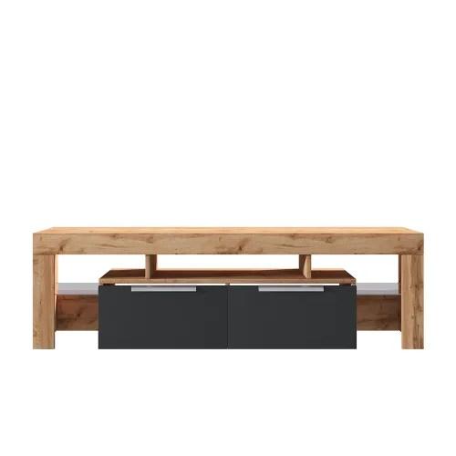 meuble tv minimaliste 180 cm chene lancaster noir brillant maisons du monde