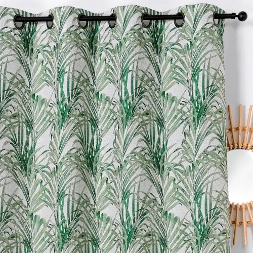 rideau impressions exotiques polyester vert 250x135 maisons du monde