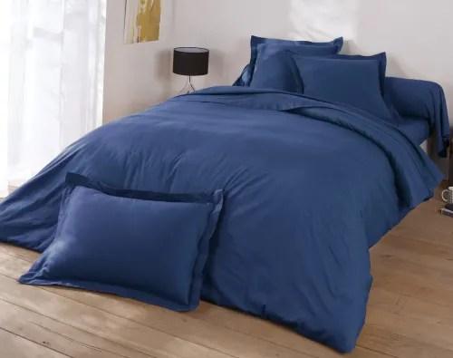 Drap Housse 120x190 En Coton Bleu Marine Coton Maisons Du Monde