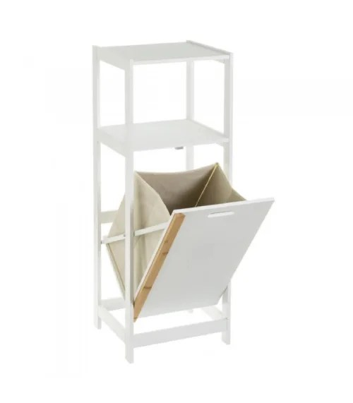 etagere salle de bain en bois blanc panier a linge integre maisons du monde
