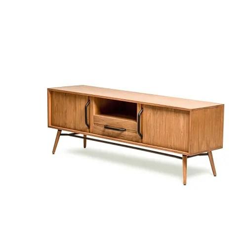 meuble tv scandinave en bois massif de teck et poignees metal maisons du monde
