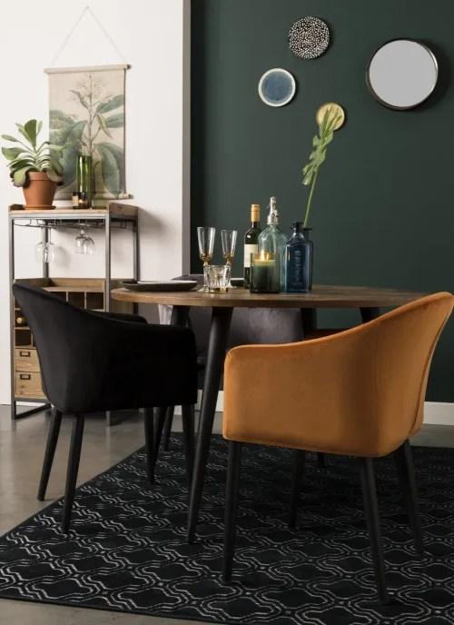 fauteuil de table en velours noir maisons du monde