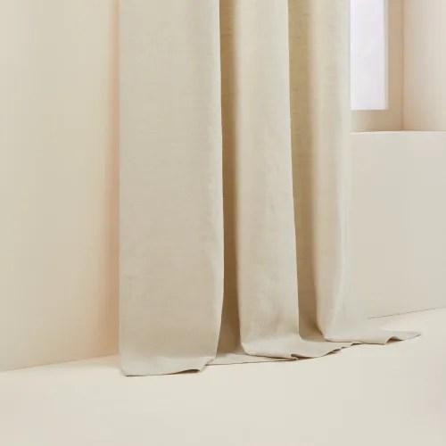 rideau a oeillets 140x350 cm beige dore maisons du monde