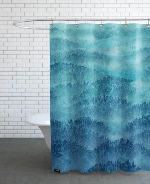rideau de douche en polyester en bleu turquoise 150x200 maisons du monde