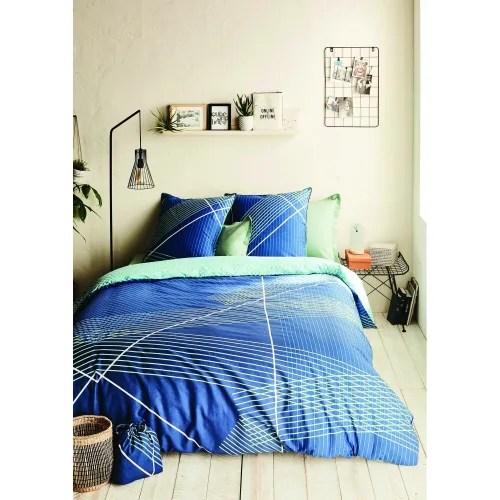 Parure De Housse De Couette Oeko Tex Coton Bleu 220x240 Cm Neon Maisons Du Monde