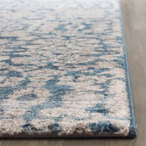 tapis de couloir d inspiration vintage bleu et beige 62x240 maisons du monde