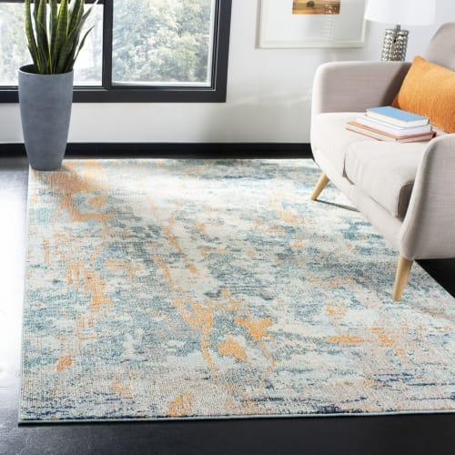 tapis de salon contemporain bleu clair et beige 160x230 maisons du monde