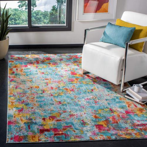 tapis de salon colore turquoise et fuchsia 91x152 maisons du monde