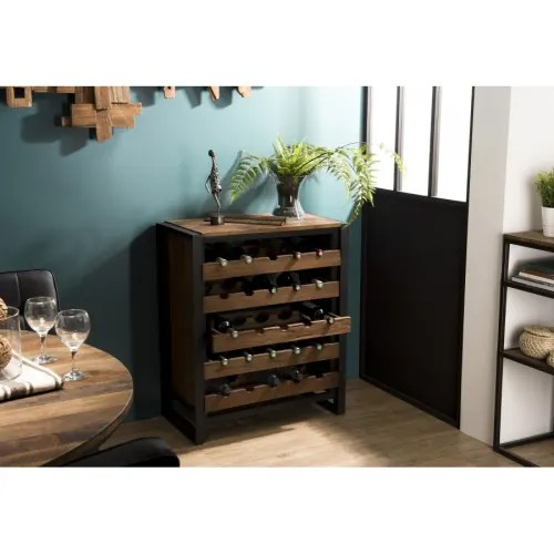 meuble rangement vin 5 niveaux bois teck recycle et metal maisons du monde