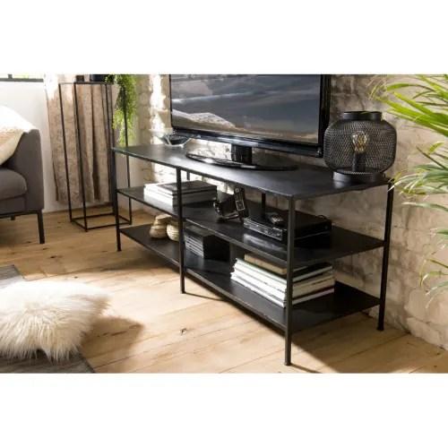 meuble tv industriel 2 etageres metal maisons du monde