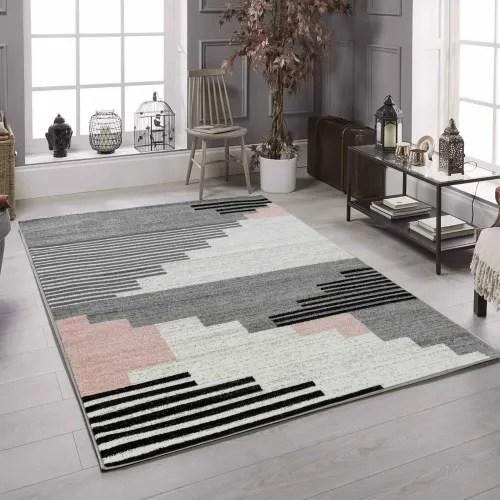 tapis scandinave polypropylene rose et noir 50x80 maisons du monde