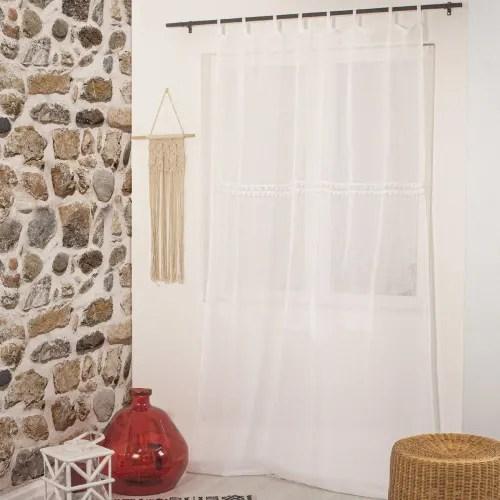 voilage a passants effet lin et pompons polyester blanc 240x140 maisons du monde