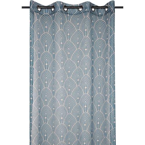 voilage aux motifs art deco polyester canard 260x140 maisons du monde