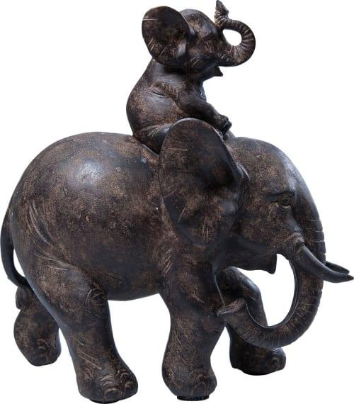 Statuette Elephants En Polyresine Marron Maisons Du Monde