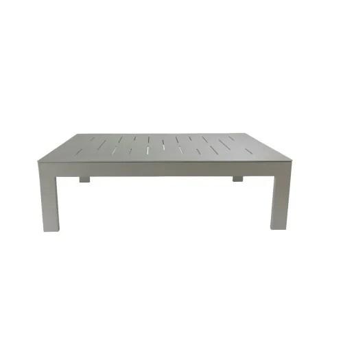table basse de jardin rectangulaire en aluminium gris souris maisons du monde