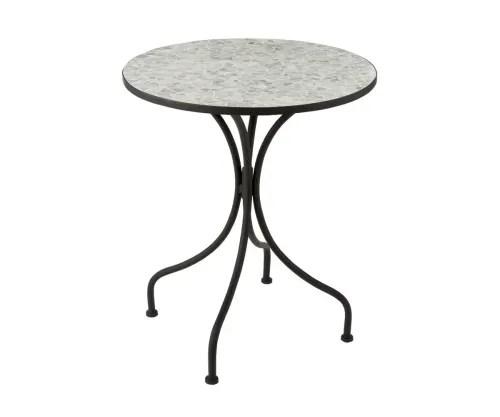 petite table de jardin ronde en mosaique gris ciment maisons du monde
