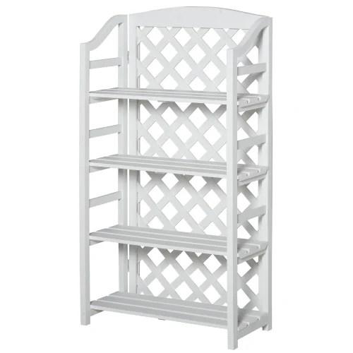 etagere a fleurs pliable 4 etageres reglables en bois de sapin blanc maisons du monde